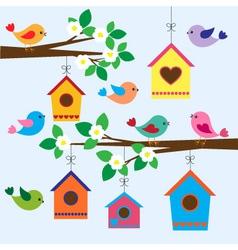 Birdhouses in spring vector image