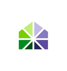home abstract geometry colored logo vector image