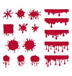 set of ketchup drops splashes vector image vector image