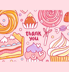 thank you pastry background card vector image vector image