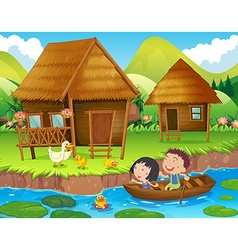 Two kids rowing boat in the river vector image