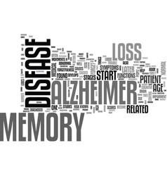 alzheimers history text word cloud concept vector image vector image