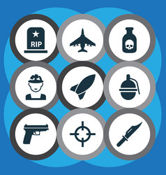 army icons set collection of bombshell rip vector image vector image