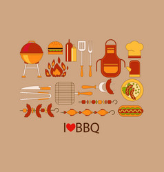 barbecue design elements grill kitchen utensils vector image vector image