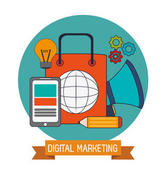 digital marketing business network website vector image vector image