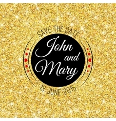 Perfect wedding template with golden confetti vector image