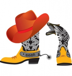 cowboy shoes and hat vector image