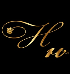 Gold letter H with roses vector image