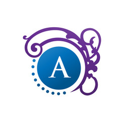 letter a with clasicc and modern decoration monogr vector image