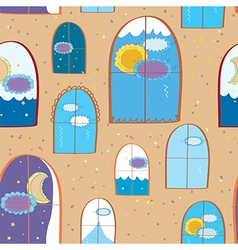 Windows seamless at day and night vector image