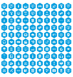 100 website icons set blue vector image