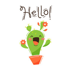 a happy cactus greets you hello vector image