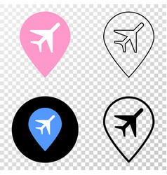 airport map marker eps icon with contour vector image