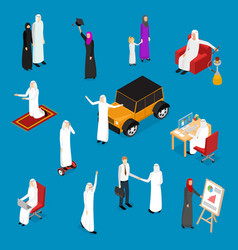 arab muslims people 3d icons set isometric view vector image