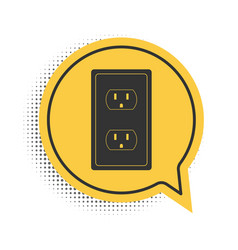 Black electrical outlet in usa icon isolated vector