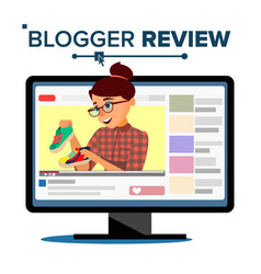 Blogger review concept vetor popular young video vector