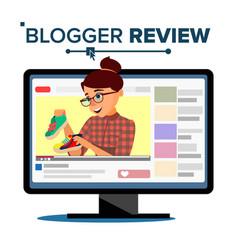 Blogger review concept vetor popular young video vector
