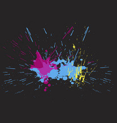 brigh paint spots on a black background abstract vector image