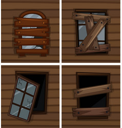 Broken windows on wooden wall vector