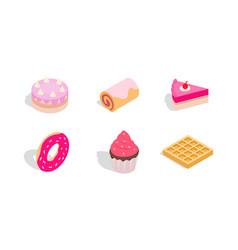 cake icon set isometric style vector image