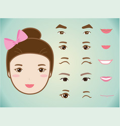 cartoon cute girl character pack vector image