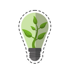 cartoon ecology bulb leaf nature vector image