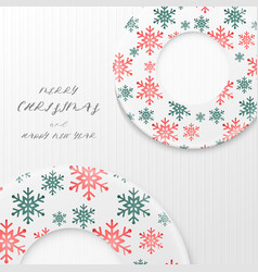 christmas wreath pattern on white wooden vector image