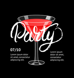 Cocktail party martini glass hand written vector