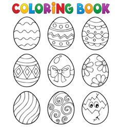 Coloring book easter eggs theme 3 vector