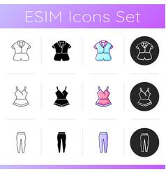 Comfortable sleepwear icons set vector