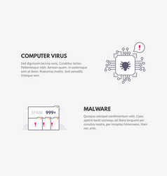 Computer virus and malware cyber security concept vector