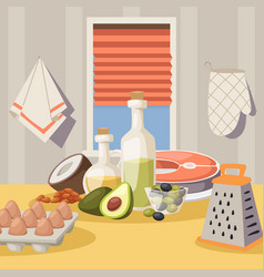 Cooking ingredients on kitchen table vector