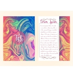 Cover template with marbling vector image