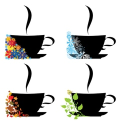 cups and four seasons vector image
