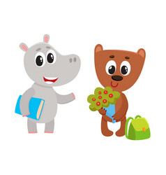 cute animal student characters bear with flowers vector image