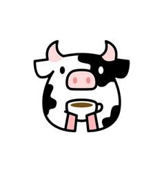 cute cow coffee tea cup drink cartoon logo icon vector image