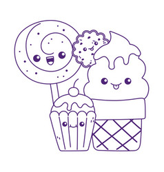 Cute cupcake ice cream cookie and candy in stick vector