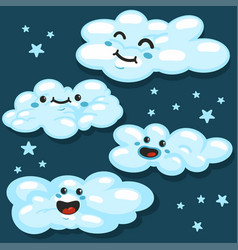 cute fluffy white clouds character set vector image