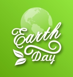 Earth Day Words Planets and Leaves vector image