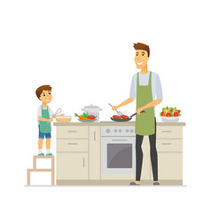 father and son cooking - cartoon people characters vector image