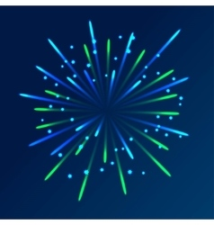 Fireworks with blue and green rays stars vector image