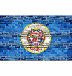 Flag minnesota on a brick wall vector