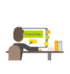 flat design a businessman buys a franchise vector image