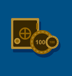 Flat icon design collection safe and chips in vector