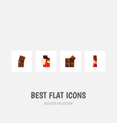 flat icon sweet set of shaped box wrapper cocoa vector image