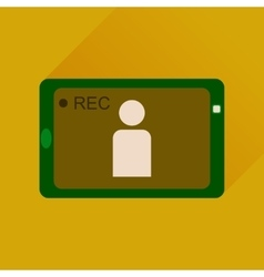 Flat icon with long shadow Mobile phone video vector