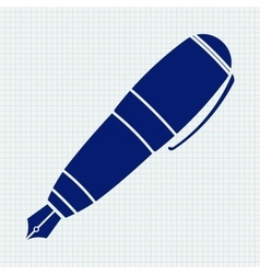 Fountain pen icon on notebook sheet background vector