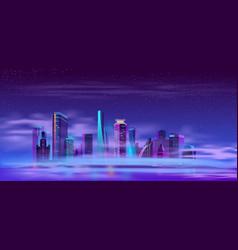 Future city on artificial island cartoon vector