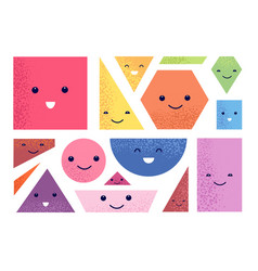 geometric shapes characters polygon faces kid vector image