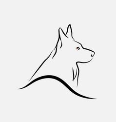 German shepherd dog line art vector